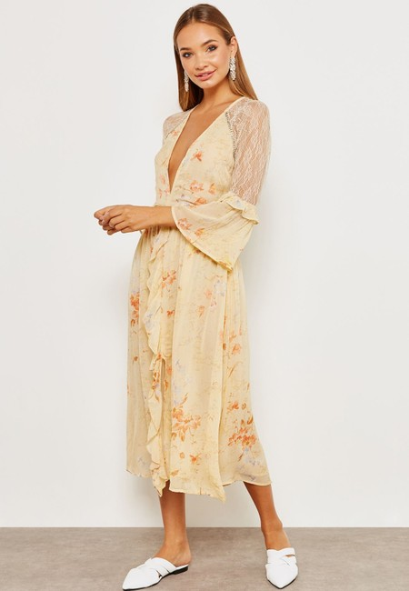 Ivory Maxi Dress by Topshop Floral Lace Crystals Midi Ruffle Image 1