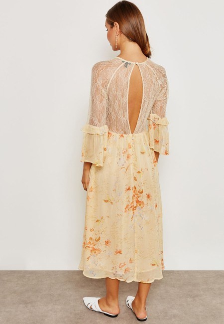 Ivory Maxi Dress by Topshop Floral Lace Crystals Midi Ruffle Image 2