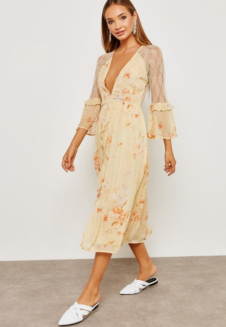 Ivory Maxi Dress by Topshop Floral Lace Crystals Midi Ruffle Image 3