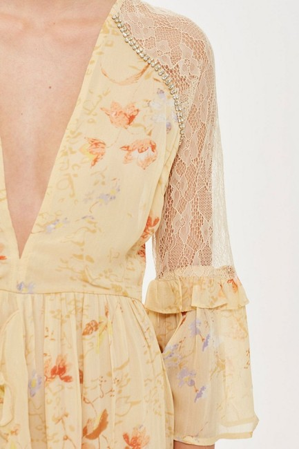 Ivory Maxi Dress by Topshop Floral Lace Crystals Midi Ruffle Image 4