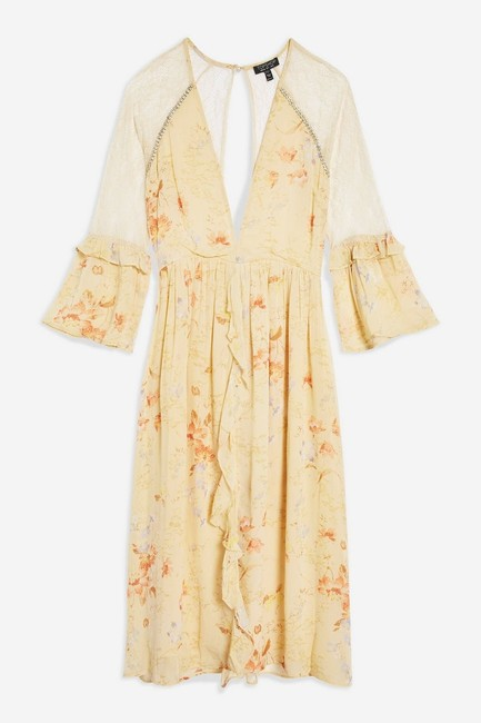 Ivory Maxi Dress by Topshop Floral Lace Crystals Midi Ruffle Image 5