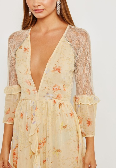 Ivory Maxi Dress by Topshop Floral Lace Crystals Midi Ruffle Image 6