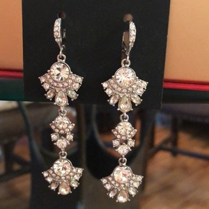 Givenchy Withe Gold Tree Lear Crystal Drops Earrings