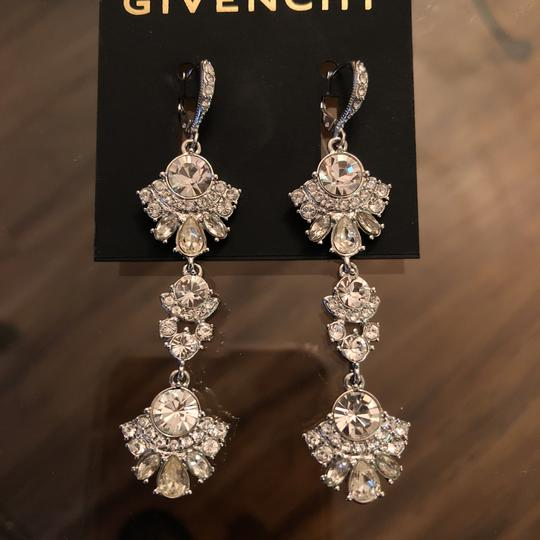 Givenchy Withe Gold Tree Lear Crystal Drops Earrings Image 4