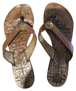Tory Burch camel and gold Sandals