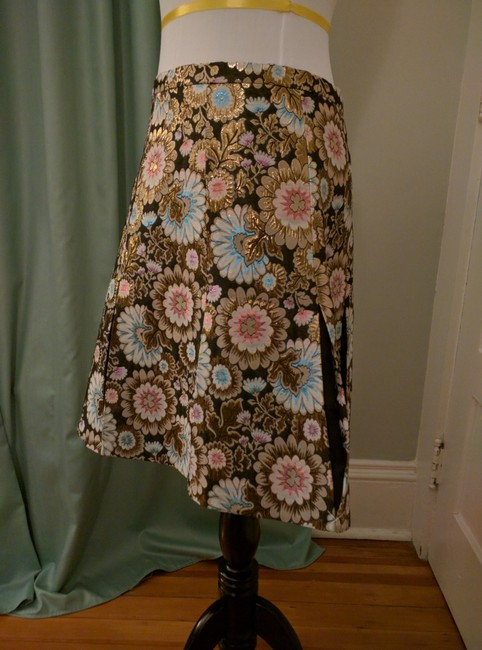 J.Crew Pleats Collection Skirt Black, gold, pink, blue Image 1