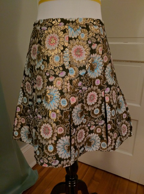 J.Crew Pleats Collection Skirt Black, gold, pink, blue Image 2