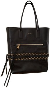 Marc Jacobs Grommet Leather Lacing Leather Edgy Antique Gold Tote in Black