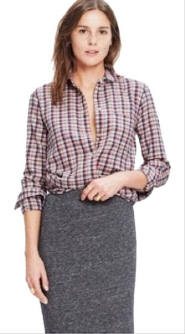 Preload https://img-static.tradesy.com/item/25007734/madewell-red-white-flannel-plaid-button-up-shirt-boyshirt-button-down-top-size-12-l-0-1-650-650.jpg