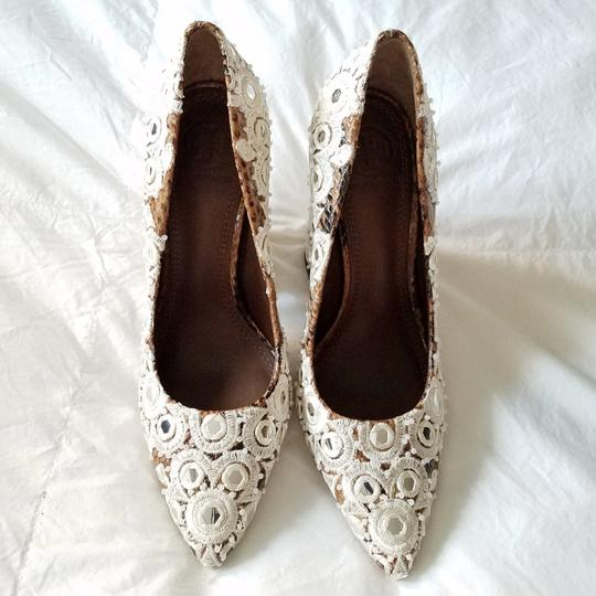Tory Burch Brown & White Pumps Image 1