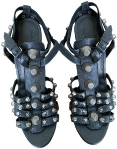Balenciaga Gladiator Wedge Studded Slate gray with silver studs Sandals