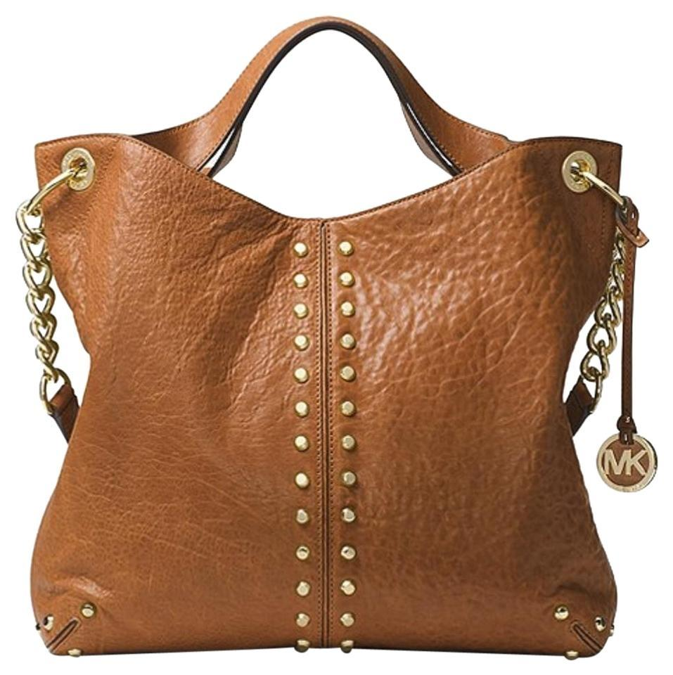 47e8ca609236 Michael Kors Uptown Astor Gold Studded Large Studs Stud Satchel Shoulder  Whiskey Luggage Saddle Brown Tumbled Leather Tote
