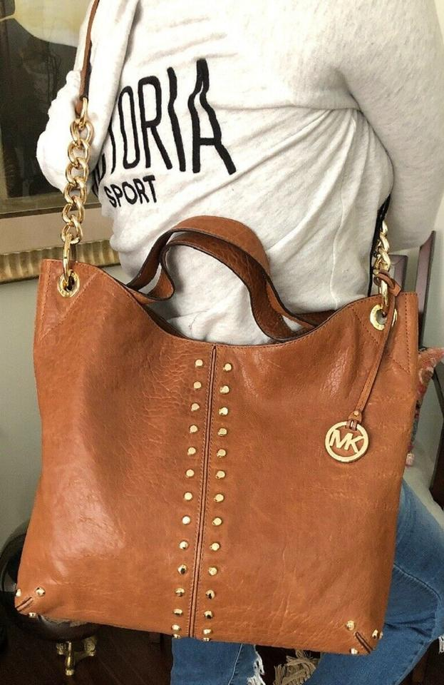 3696c232be38 Michael Kors Uptown Astor Gold Studded Large Studs Stud Satchel Shoulder  Whiskey Luggage Saddle Brown Tumbled Leather Tote - Tradesy