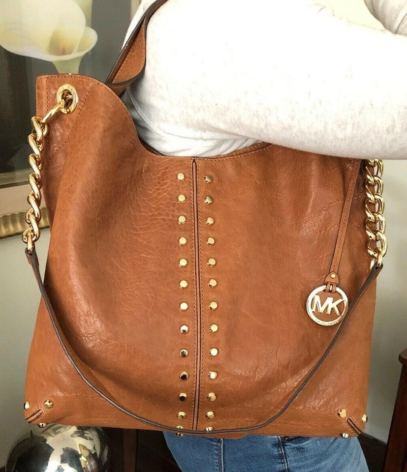 c4a3e00b5d75 Michael Kors Shoulder Chain Studs Stud Tote in Whiskey Luggage Saddle Brown  Image 11. 123456789101112