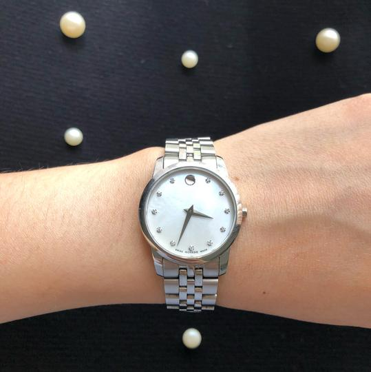 Movado BOX SET Movado Museum mother of Pearl Diamond Dial Steel Women's Watch Image 5