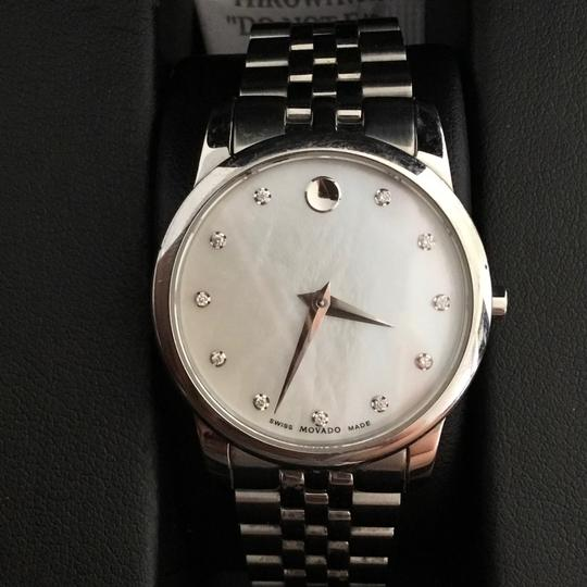 Movado BOX SET Movado Museum mother of Pearl Diamond Dial Steel Women's Watch Image 6