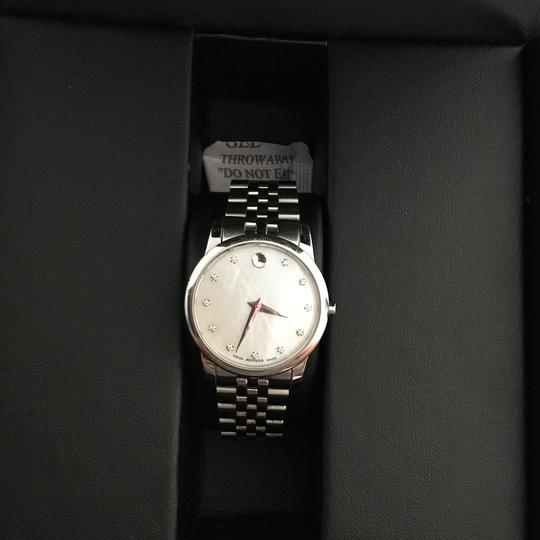 Movado BOX SET Movado Museum mother of Pearl Diamond Dial Steel Women's Watch Image 7