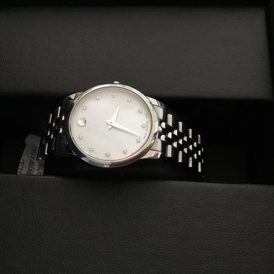 Movado BOX SET Movado Museum mother of Pearl Diamond Dial Steel Women's Watch Image 8