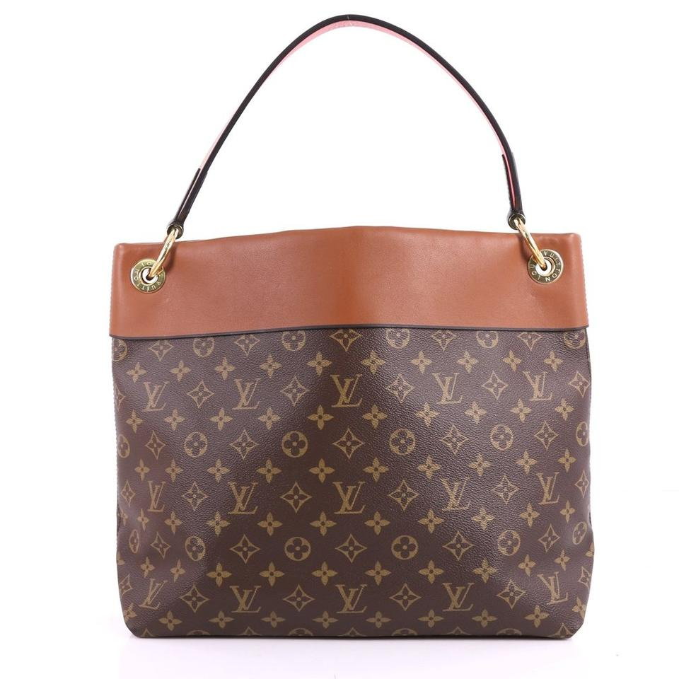 551c147f9b79 Louis Vuitton Tuileries Monogram with Leather Brown Canvas Hobo Bag ...