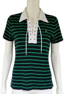 Lauren Ralph Lauren Jersey Striped Nautical Laced T Shirt Navy Blue, Green