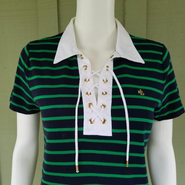 Lauren Ralph Lauren Jersey Striped Nautical Laced T Shirt Navy Blue, Green Image 1