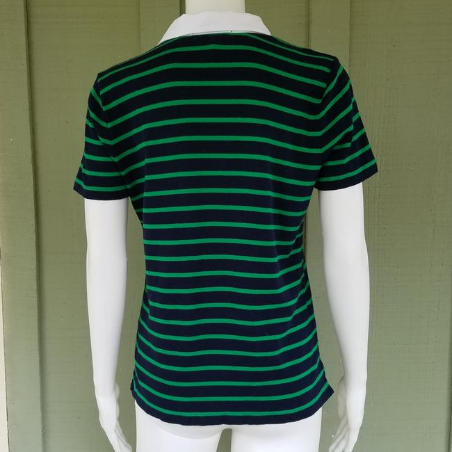 Lauren Ralph Lauren Jersey Striped Nautical Laced T Shirt Navy Blue, Green Image 2