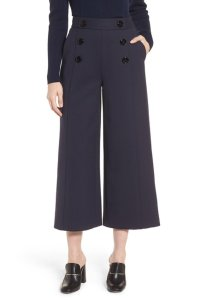 Lewit Cropped Wide Leg Trousers Super Flare Pants Navy