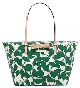 Kate Spade Canvas Handbag Francis Tote in Leaf Lucky Green Garden Leaves