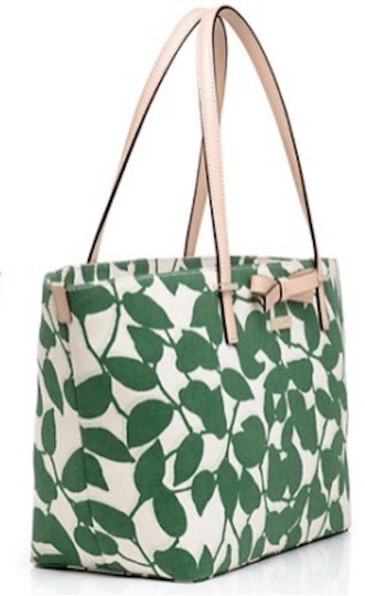 Kate Spade Canvas Handbag Francis Tote in Leaf Lucky Green Garden Leaves Image 1