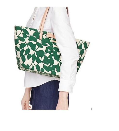 Kate Spade Canvas Handbag Francis Tote in Leaf Lucky Green Garden Leaves Image 3
