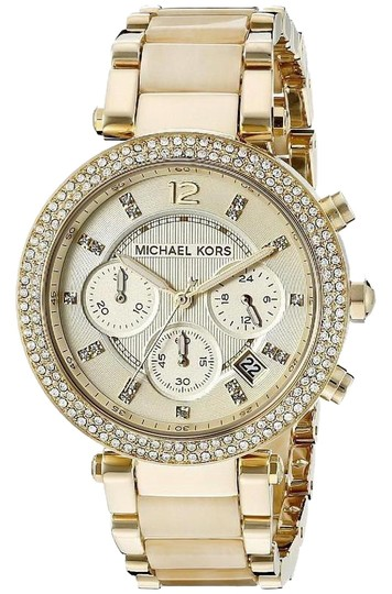 Preload https://img-static.tradesy.com/item/25008164/michael-kors-gold-and-beige-mk5632-women-s-parker-chronograph-watch-0-3-540-540.jpg
