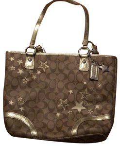 Coach Tote in brown and gold