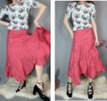 Areli Collection Diagonal Bias Cut Ruffle Balloon Y2k Party Outfit Full Skirt Muted Candy Apple Red Image 3