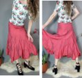Areli Collection Diagonal Bias Cut Ruffle Balloon Y2k Party Outfit Full Skirt Muted Candy Apple Red Image 4