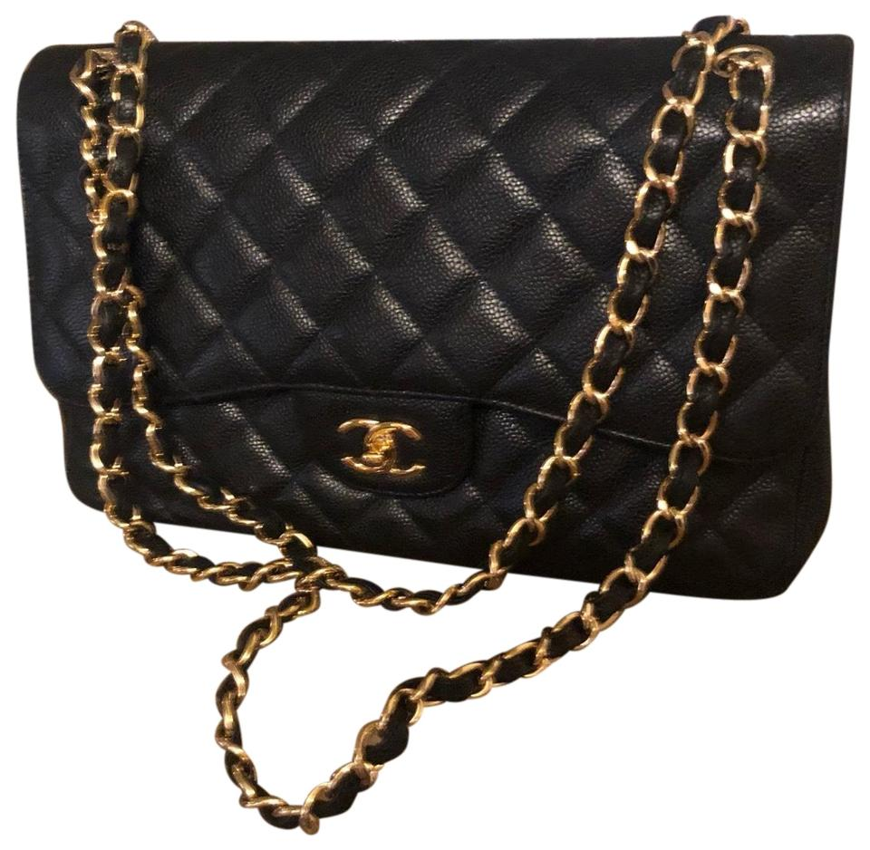 829f814d11af23 Chanel Classic Flap Classic Jumbo Double Black Caviar Leather Shoulder Bag