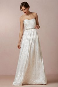 BHLDN White Silk Blend Hyacinth Destination Wedding Dress Size 8 (M)