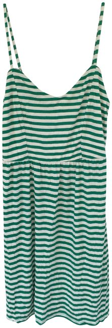 Item - Green and White Stripe Short Casual Dress Size 10 (M)