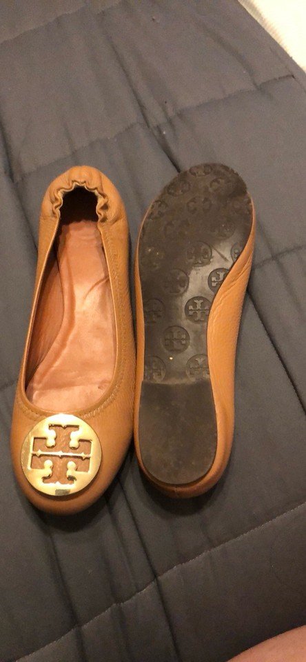 5d0943c549b3 Tory Burch Tan Minnie Travel Ballet Flats Wedges Size US 7.5 Regular ...