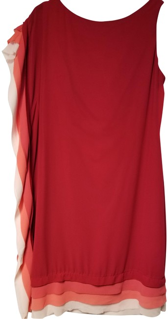 Item - Red/Peach/Cream Fountain Layer Mid-length Cocktail Dress Size 10 (M)
