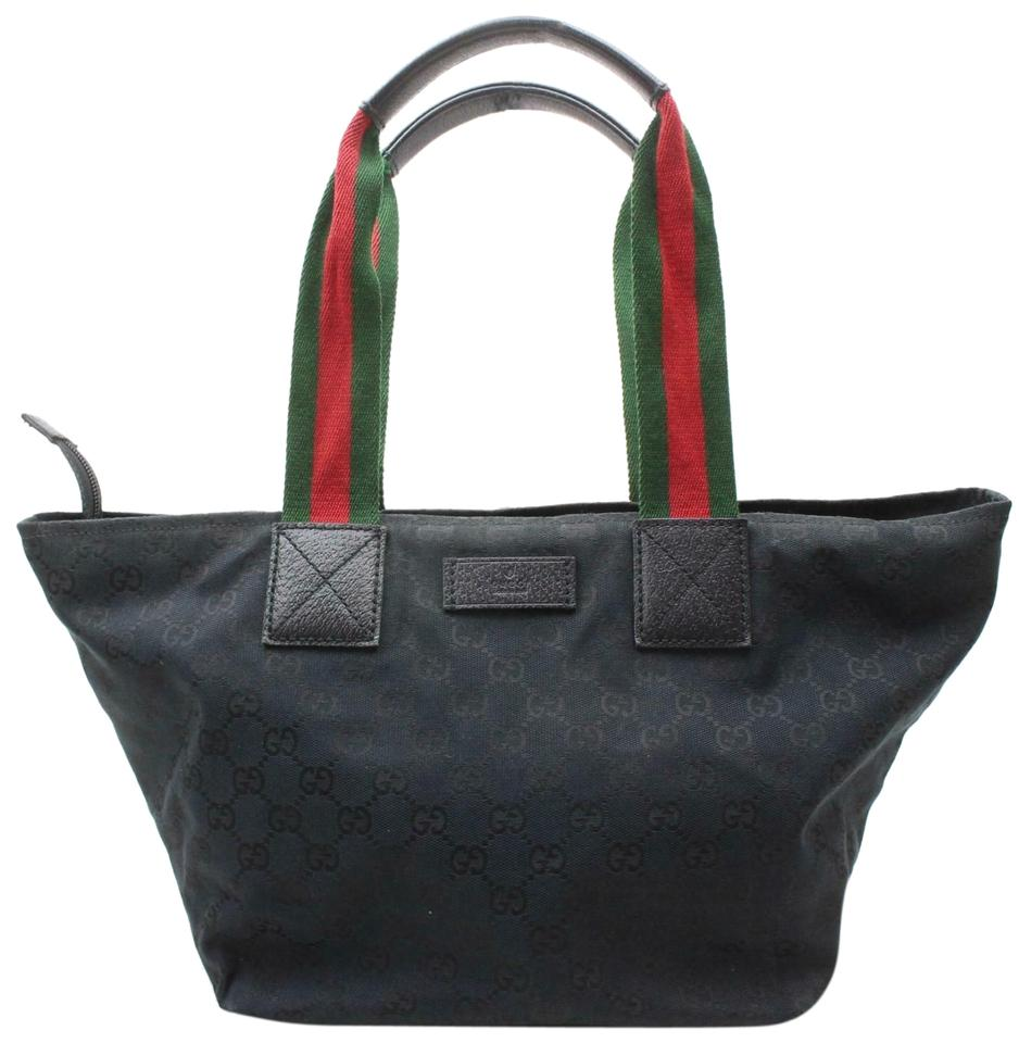 4b66636c Gucci Mint Condition Xl Sherry Line Red/Green Tote in black large G logo  print ...