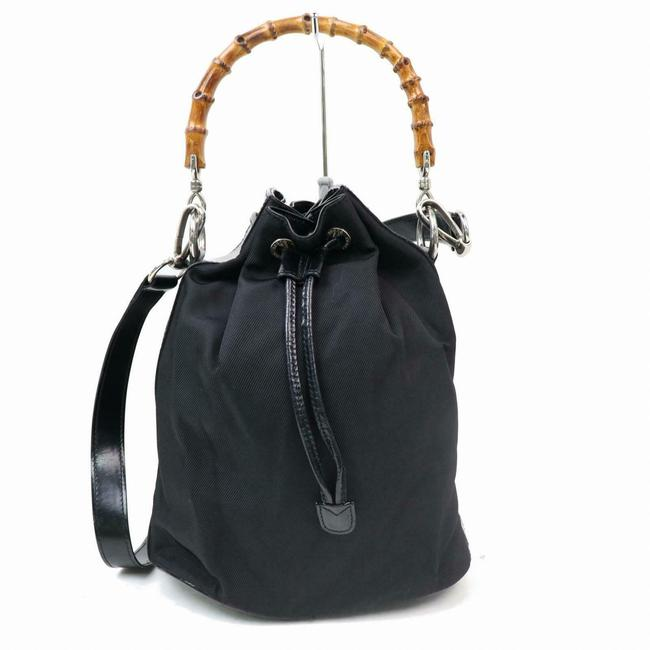 Item - Shoulder Bag Early Purse Black Nylon and Leather with Bamboo Handle Satchel