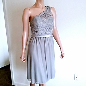 David's Bridal Grey Lace 52% Nylon/48% Rayon. Mesh Polyester Style #f15711 Feminine Bridesmaid/Mob Dress Size 8 (M)