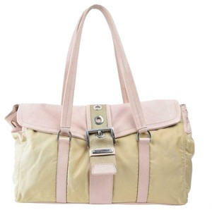 e9b102ab3b34 Prada East To West Style Pink/Tan Colorblock Mint Condition Chrome Hardware  Rare Satchel in