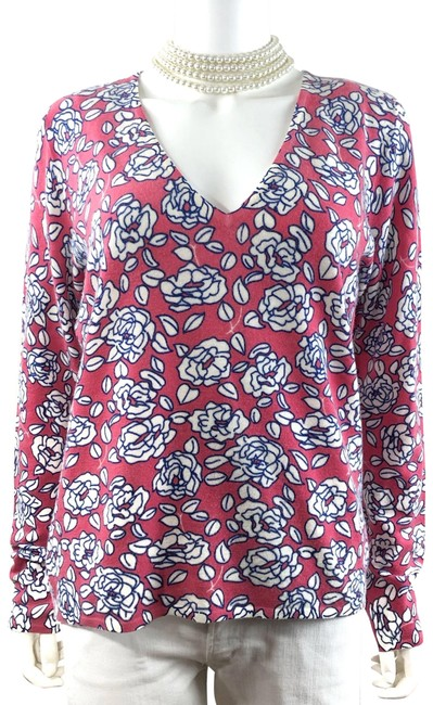 Item - Italian Wool Floral Rose Print V-neck Made In Italy Sweater