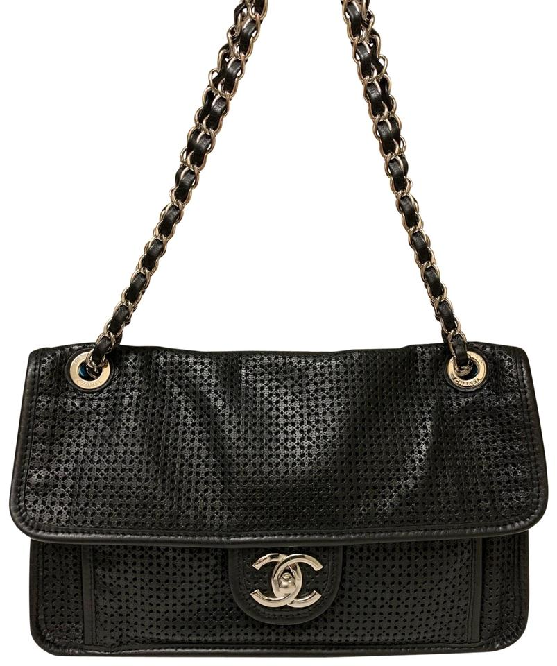 a0389baa5130 Chanel Classic Flap Perforated Up In The Air Chain Black Calfskin ...