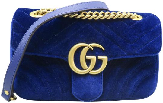 0d18df2bea8 Gucci Marmont Mini Gg Deepblue Velvet Shoulder Bag - Tradesy