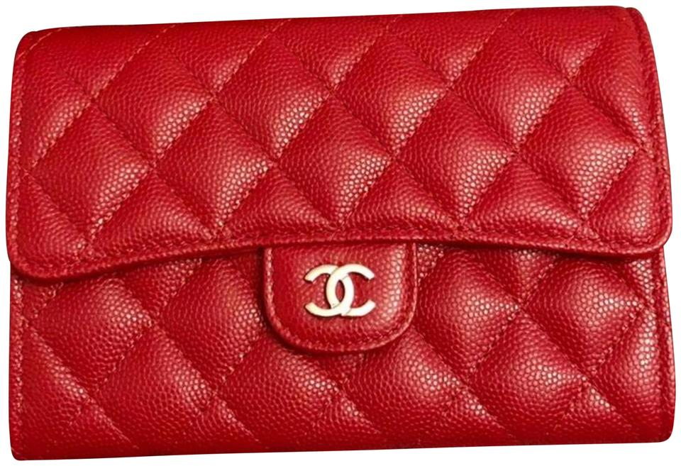 843dbaa30e8d Chanel Red New Flap 18b Caviar Wallet - Tradesy