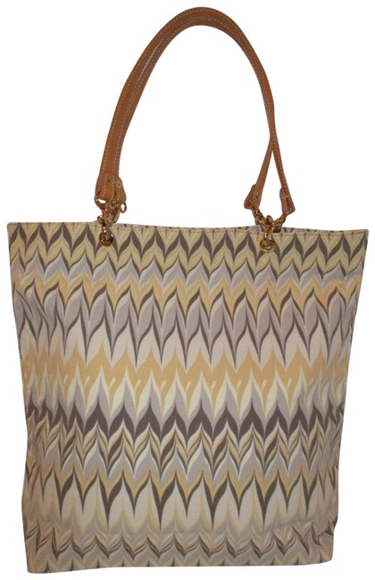 Item - Canvas Gray Brown & Gold Multi Textile Leather Tote