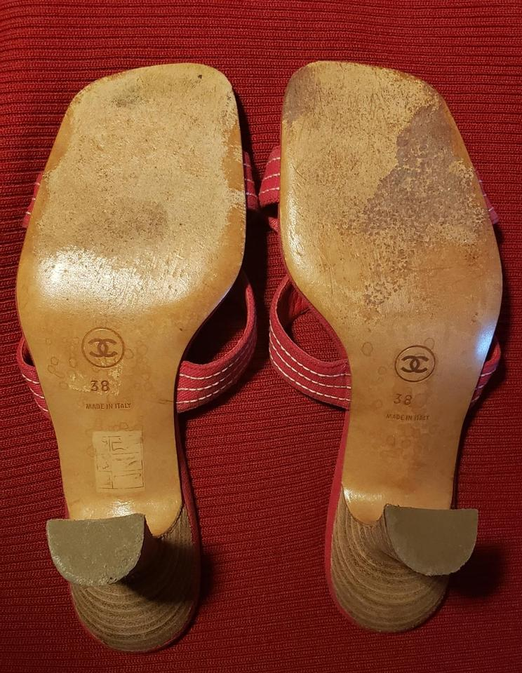 a790b463f365 Chanel Red Slide On Sandals Size EU 38 (Approx. US 8) Regular (M