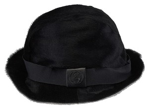Gucci Gucci Black Pony Hair Fedora Hat (39835)